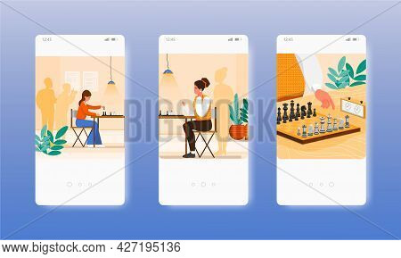 Two Women Playing Chess Board Game Tournament. Mobile App Screens, Vector Website Banner Template. U