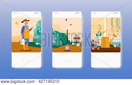 Gardening. Gardener Caring For Garden Plants. Mobile App Screens, Vector Website Banner Template. Ui