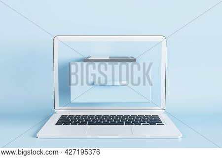 Creative Laptop With Abstract Folder On Screen On Blue Background. Digital Transformation And Archiv