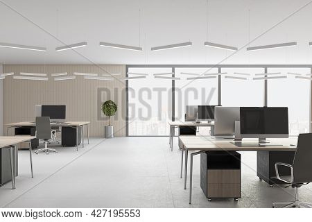 Contemporary Concrete Coworking Office Interior With Daylight, Furniture And Equipment. 3d Rendering