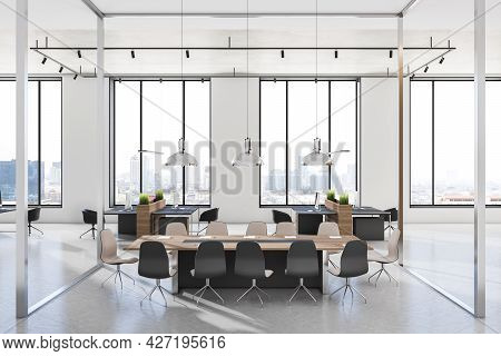 Stylish Sunny Meeting Room With Glass Walls, Modern Wooden Conference Table And Black Chairs Around