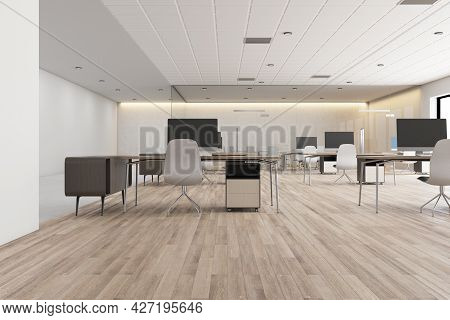 Modern Concrete Coworking Office Interior With Daylight, Wooden Flooring Furniture And Equipment. 3d