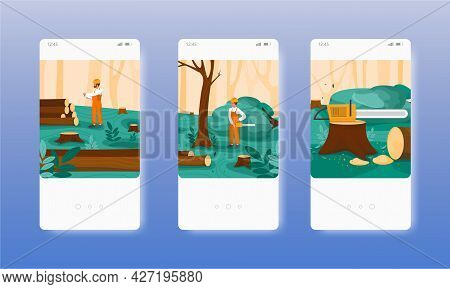 Logging. Lumberjack Cutting Trees With Chainsaw. Mobile App Screens, Vector Website Banner Template.