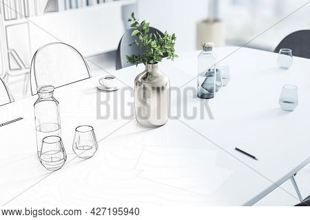 Top View Of Workplace Desktop In Abstract Office Interior Sketch. Repairs, Refurbishment, Before And
