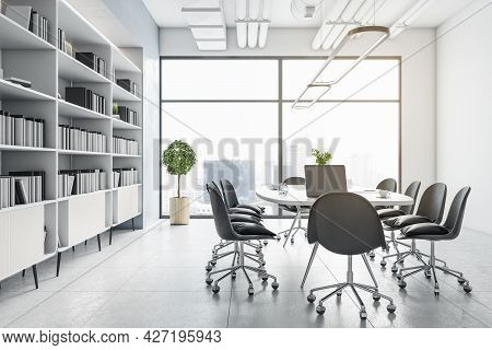 Contemporary Meeting Room Interior With Furniture, Bookcase And City View. Corporate Workplace Conce