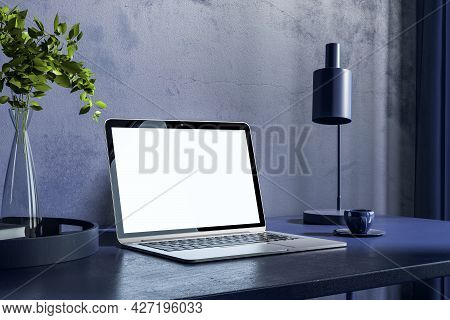 Close Up Of Blue Office Workplace With Empty Laptop And Other Items. Hipster Home Workplace. Mock Up