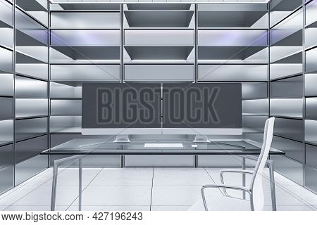 Abstract Futuristic Office Interior With Two Blank Black Computer Monitors On Desk And Silver Bookca