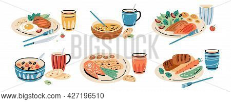 Set Of Different Breakfast, Lunch And Dinner Isolated On White Background. Collection Of Cartoon App