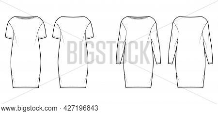 Set Of Dresses Sack Slouchy Technical Fashion Illustration With Long Short Sleeves, Oversized Body,