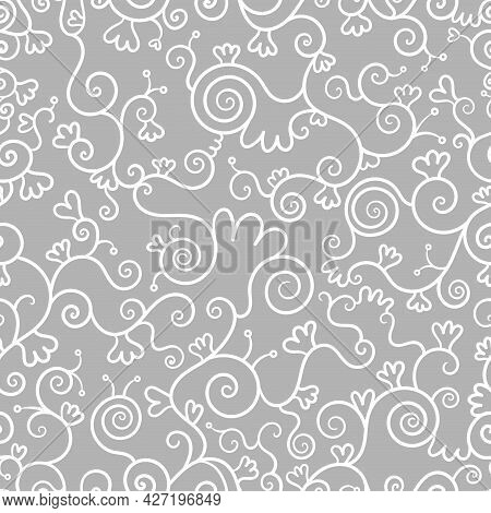 Abstract Seamless Pattern On Gray Background. Doodle Plants Wallpaper. Line Art Branched Print.