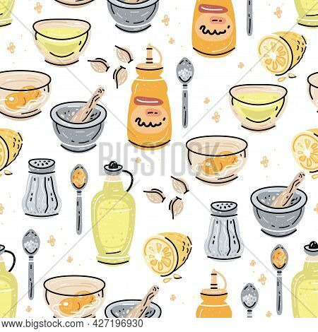Aioli Sauce Seamless Pattern With Ingredients Garlic, Olive Oil, Porcelain Mortar And Pestle On Whit