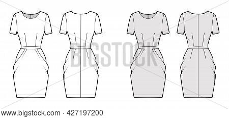 Dress Tulip Technical Fashion Illustration With Short Sleeves, Fitted Body, Knee Length Peg-top Penc