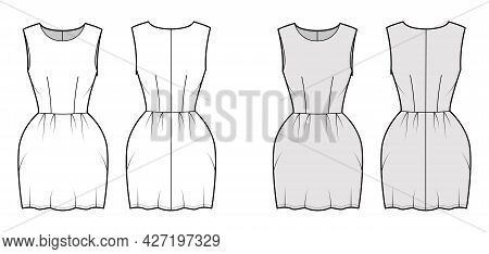 Dress Bell Technical Fashion Illustration With Sleeveless, Fitted Body, Mini Length Pencil Skirt. Fl