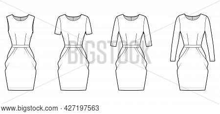 Set Of Dresses Tulip Technical Fashion Illustration With Long Elbow Short Sleeve, Fitted Body, Knee