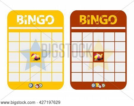 Yellow And Red Blank Copy Space Bingo Card Cut Out Decorated With Text Beach Ball Sun Glasses Pebble