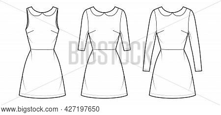 Set Of Dresses A-line Technical Fashion Illustration With Long Elbow Short Sleeves Sleeveless, Peter