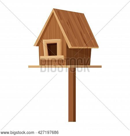 Wooden Birdhouse, Place For Nest, Empty Decoration In Cartoon Flat Style Textured Object Isolated On