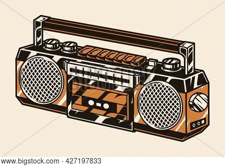 Retro Portable Audio Cassette Recorder In Vintage Style Isolated Vector Illustration