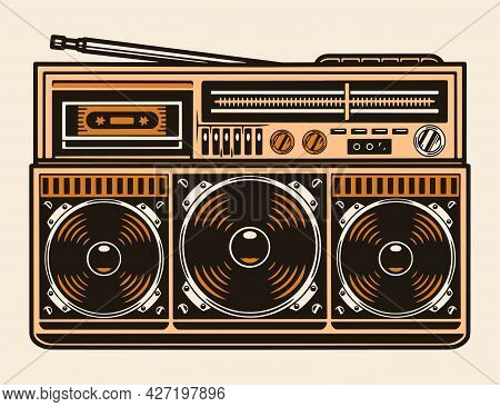 Colorful Portable Retro Cassette Recorder With Radio Antenna And Three Speakers In Vintage Style Iso