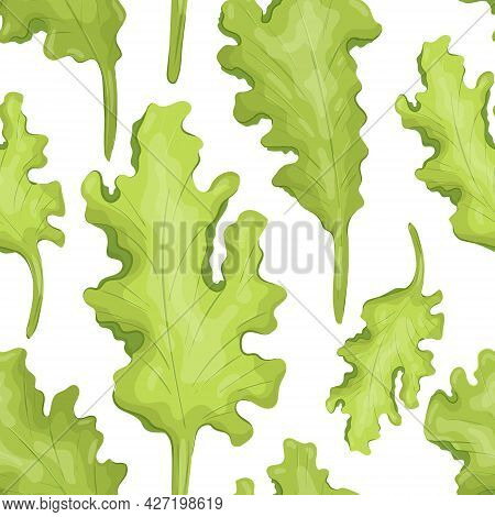 Vector Pattern With Illustration Of Natural Lettuce Leaf. Fresh, Wholesome And Healthy Food From The