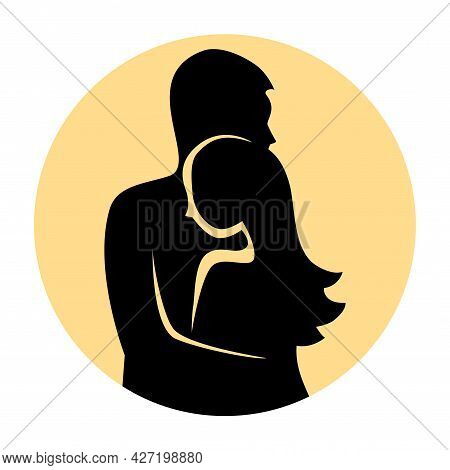 Silhouette Of A Couple In Love In An Embrace. Young Man And Woman. The Concept Of Forgiveness And Re
