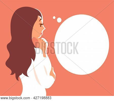 A Beautiful Young Girl Is Pondering A Question Or Dreaming. Bubble With Place For Text. Vector Carto