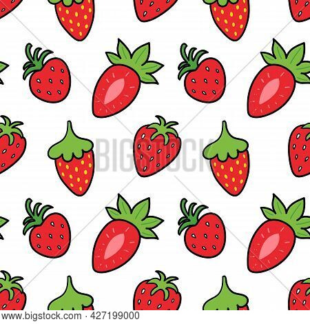 Cute Red Doodle, Cartoon Style Strawberries Vector Seamless Pattern Background For Food Design.