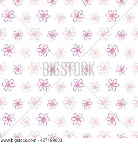 Doodle, Hand Drawn Blooming Pink Flowers, Sakura Vector Seamless Pattern Background.