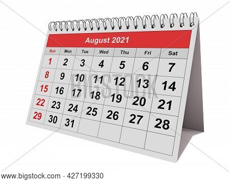 One Page Of The Annual Monthly Calendar - August 2021