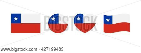 Set, Collection Of Chile Flags In Different Sizes And Shapes For National And Public Holidays.