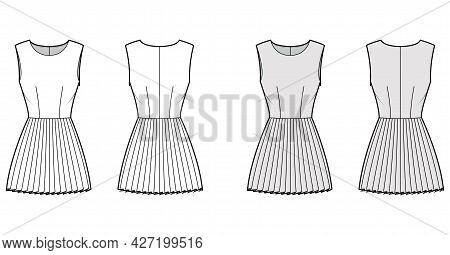 Dress Pleated Technical Fashion Illustration With Sleeveless, Fitted Body, Mini Length Skirt. Flat A