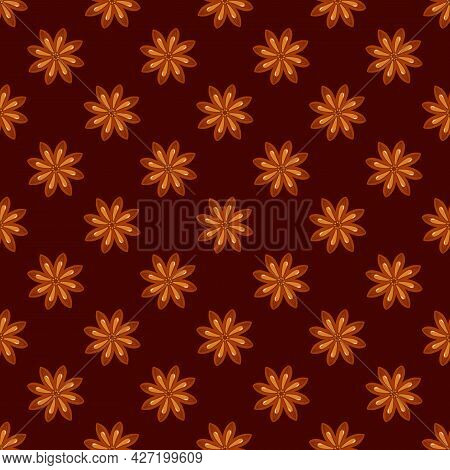 Little Star Anise, Badian Vector Seamless Pattern Background For Spice And Condiments Design.
