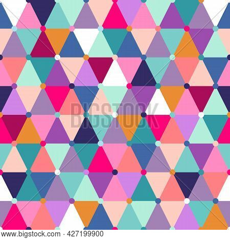 Vector Seamless Pattern, Geometric Abstraction In Different Colors. Trendy Geometry For Gift And Wra