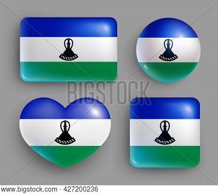 Set Of Glossy Buttons With Lesotho Country Flag. Southern African Kingdom National Flag, Shiny Geome