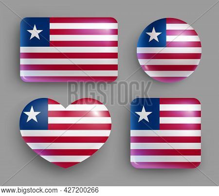 Set Of Glossy Buttons With Liberia Country Flag. Western Africa Republic National Flag, Shiny Geomet
