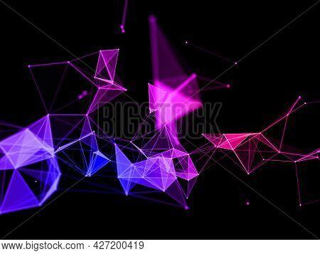 3D render of a colourful techno plexus design background