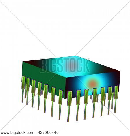 Microchip isolated on white. 3D rendering.