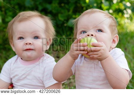 Twin Girls Looking Up With An Appetite Eat Apples In The Fresh Air.