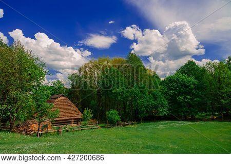 Picturesque Village Country Side Landscape Of Eastern Europe Region In Ukraine In Summer Colorful Da