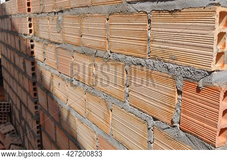 Concrete Blocks Seated On Wall Construction In Residence In Brazil, South America In Side View With
