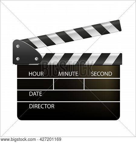 Film Clappers Boards Isolated On White Background. Blank Movie Clapper Cinema. Vector Movie Clapper