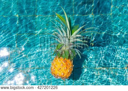 Ripe Pineapple Floats In A Pool Of Refreshing Water