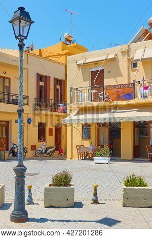 Rethimno, Crete Island, Greece - April 26, 2018: Old square in Rethimno town