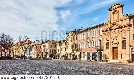 Cesena, Italy -  February 27, 2020: Old square in the old town of Cesena, Emilia-Romagna. Cityscape, panoramic view