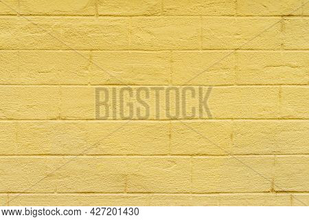 Yellow Painted Brick Wall, Bright Texture For Modern Backdrop