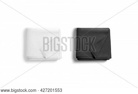 Blaank Black And White Folded Towel With Deferred Corner Mockup, 3d Rendering. Empty Soft Washcloth