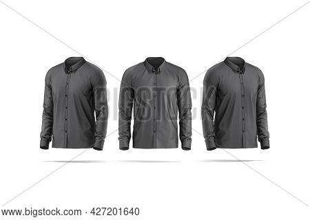 Blank Black Classic Shirt Mockup, Front And Side View, 3d Rendering. Empty Textile Classy Garment Fo