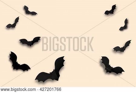 Halloween Background. Black Bats On A Light Beige Background. High Quality Photo