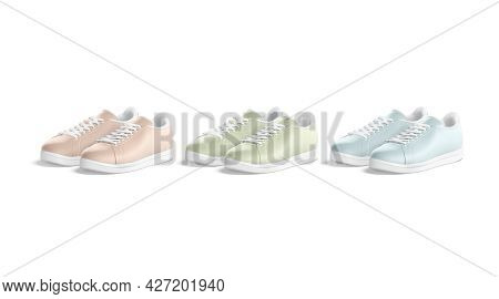 Blank Colored Leather Sneakers With Lace Mockup Pair, Isolated, 3d Rendering. Empty Pink, Green And