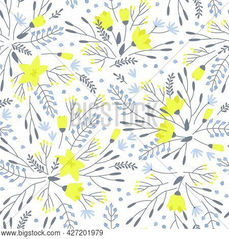 Seamless Pattern Of Yellow Blue Gray Flowers On A White Background. The Pattern Is Densely Filled Wi